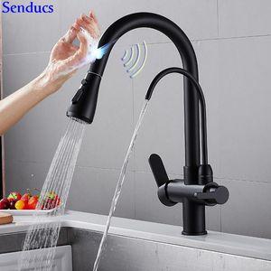 Sensor Kitchen Mixer Tap Senducs Three Ways Black Pull Out Water Filter Faucet Brass Intelligent Touch Sensing Kitchen Faucet