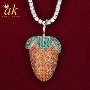 Cartoon Strawberry Shape Rock Necklace Gold Color Material Copper Cubic Zircons Bling Charms Hip Hop Rock Street