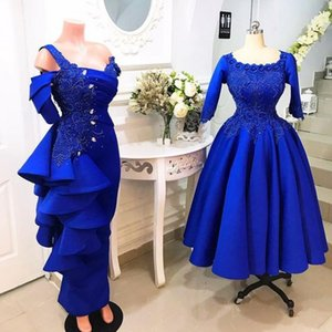 Royal Blue Two Styles Mermaid Evening Dresses Lace Appliques Satin Beads Sequins Ankle Length Prom Dress Aso Ebi vestidos de fiesta