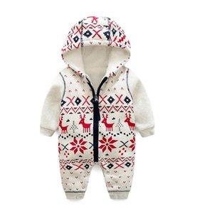Baby one-piece plus velvet winter long-sleeved one-piece baby Christmas deer romper padded romper LY175