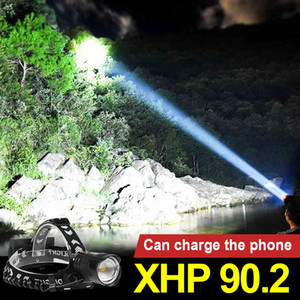 XHP90.2 USB Rechargeable Led Headlamp Powerful Headlight Hunting Cycling Lantern searchlight Waterproof Use 18650
