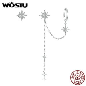 WOSTU Shining Stars Drop Earrings 925 Sterling Silver Asymmetrical Design Chain Dangle Long Earrings For Women Jewelry CTE433 Z1128