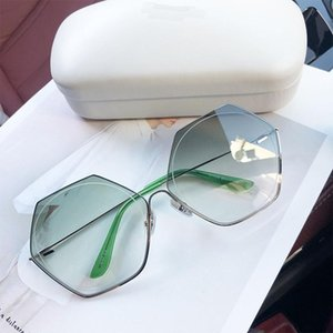 Sunglasses Women Brand Designer Big Frame Polygon Gradient Lens Men Vintage Sun Glasses Hexagon Metal