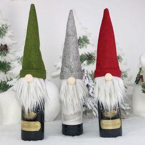 New Gift Decorations Santa Claus Glass Bottle Set Christmas Champagne Decoration Wine Bag GWB1845