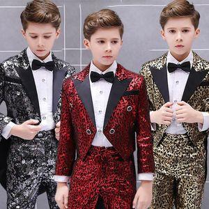 Hip Hop Costumes Boys Fashion Leopard Print Tuxedo Suit Carnival Evening Party Dress Kids Jazz Stage Performance Wear DN4051