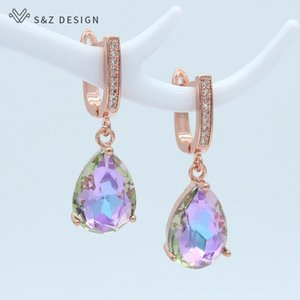 Sz design moda coreana luxo gota de água cristal 585 rosa dangle brincos para mulheres engajamento de casamento jóias elegantes