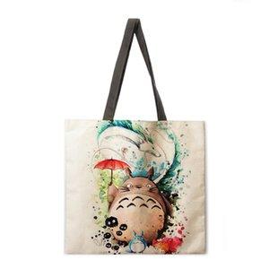 수채화 토토로 인쇄 토트 재사용 가능한 해변 린넨 캐주얼 여성의 어깨 접이식 쇼핑백