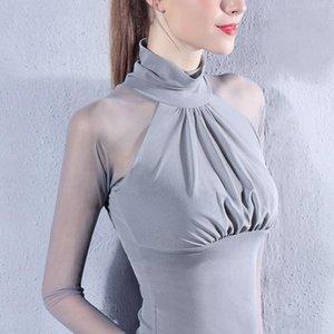 Turtleneck Woman Tshirts Elegant Long Sleeve Mesh Ladies Top Sexy Slim Fit Graphic Tees Korean Style Spring Autumn 2021 Y1700A