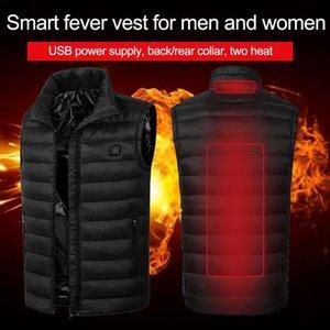 Men USB Electric Heating Vest Jacket Clothing Skiing Winter Warm Heated Vest For Winter Warmer Hiking verwarmde bodywarmer 201114