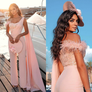 Arabic Pink One Shoulder Prom Dresses with Wrap Lace Sequined Women Jumpsuit Evening Gowns Plus Size