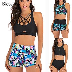 Sport High Waist Bikini Women Swimwear 2020 Sexy Crop Top Plus Size Swimsuit Swimming Suit Bathing Suit Bikini Set With Shorts