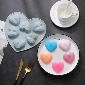 6-Cavity Diamond Heart-Shaped Silicone Cakes Mousse Molds Chocolate Dessert Bakeware Pastry Mould LLA258