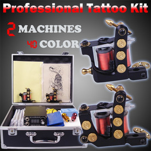 Professional complete tattoo kit kit tattoo machine liner and shader 2 top tattoo gun 40 color inks