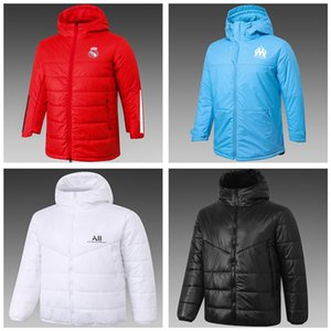 20 21 Real Madrid Hommes Soccer Coton Coton Down Jacket Pull 2021 Marseille Windsuit Sweat à capuche Sweat de Football Hiver Vêtement