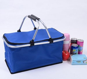 Portable Picnic Lunch Bag Ice Cooler Box Storage Travel Basket Cooler Cool Hamper Shopping Basket Bag Box DHC4112