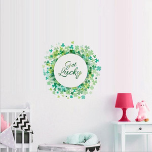 St.Patrick's Day Decorations Large Shamrock Wreath Garland Wall Decals Removable Clover Stickers for Window Walls Decoration Decal Stickers