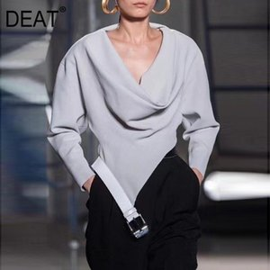 DEAT 2020 new autumn and winter V-neck full sleeves asymmetrical pullover hooded sweatshirt female top fashion WO13701L