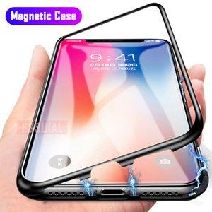 Metal Magnetic Adsorption Case For iPhone SE 11 Pro XS Max XR Tempered Glass Back Magnet Cover For iPhone 7 8 6 6s Plus XS Case