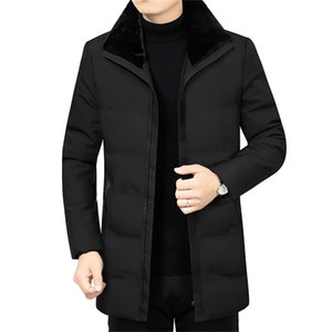 Mens Parkas Winter Warm Jacket Coats Men Fashion Casual Mens Winter Jackets and Coats Fleece Parkas Collar Detachable Clothes 201125
