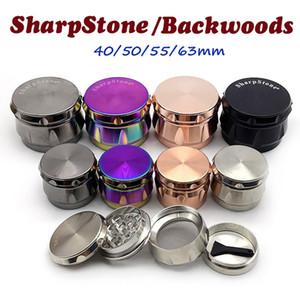 Backwoods Grinder Sharpstone Herb Moedor 4 Camadas 40/50/55 / 63mm Metal Liga de Zinco Tobacco Crusher Seco Moedores Herbais OEM Logotipo