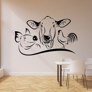 Cow Pig Rooster Wall Decal Farm Animal Kitchen Restaurant Dining House Decor Vinyl Window Sticker Mural Art Removable