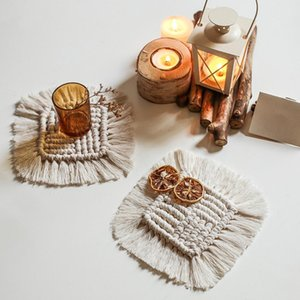 Cup Table Mat Handmade Square Coaster Heat-resistant Thick Water-absorbing Dining Table Mat with Tassel For Kitchen