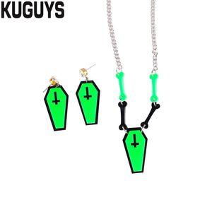 Halloween Horror Jewelry Set Acrylic Neon Green Cross Coffin Bone Drop Earrings Pendant Necklace Trendy Accessories