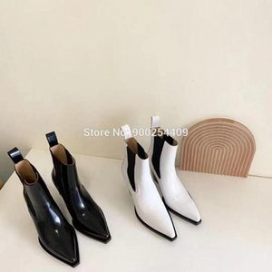 2021 women's shoes, women new style black and white colour genuine leather ankle boots, women winter shoes RRsweetie