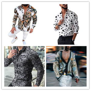 2021 Spring Digital Printed Shirt Mens Fashion Bohemian Shirts Homme Designer V Neck Tops Casual Mens Lapel Neck Shirts
