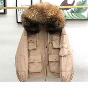 90% White Duck Down Jacket Real Raccoon Fur Hooded 2020 Female Thicken Warm Winter Down Coat Women Short Loose Feather Snow Coat T200831