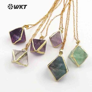WT-N1142 WKT Random Size Natural Rainbow Fluorite Stone In Dice Shape With Gold Trim Healing Crystal Bohe Necklace Best Gift