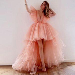 Sexy Deep V Neck Prom Dresses High Low Puffy Tulle Robes De Soirée élégantes 2021 Femmes Cheap Women Special Occasion Wear