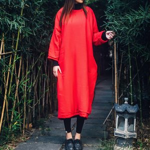 Women Vintage Maxi Dress 2020 Spring New Bat Sleeve Embroidery Cotton Linen Plus Size Robe Long Sleeve Long Dresses