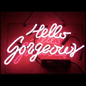 مرحبا رائع ريال الزجاج اليدوية النيون جدار علامات لغرفة ديكور المنزل غرفة نوم بنات الحانة فندق شاطئ كوكتيل لعبة الترفيهية