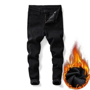 Shan Bao Men's Slim-Fit-Fit Pure Black Jeans Fleece de invierno Grueso y cómodo Ropa de marca cálida Tienda Juvenil Boy Denim Jeans Q1216
