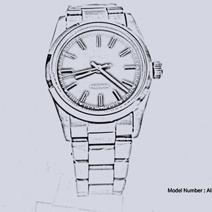Klassischer Stil Blauer und weißer Chassis-Luftkönig Hohe Qualität Edelstahl Automatische mechanische Bewegung 36mm Herrenmode-Uhr