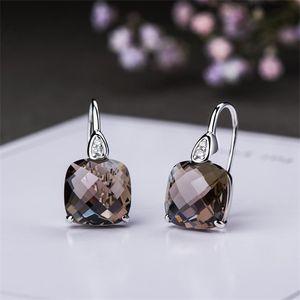 Created Gemstone Emerald green Crystal Amethyst Smoky Quartz Earrings Sterling 925 Silver Fine Jewelry For Women wholesale Z1128