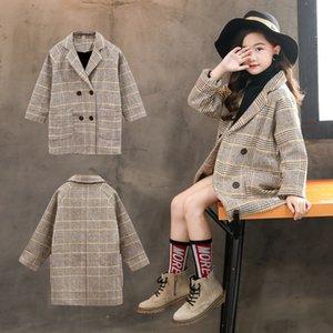 High Quality Lattice Children Coat Wool Coat Boys Girls Fashion Autumn Winter Jacket Windbreaker Kids Winter Overcoat#G30 201110