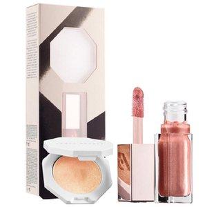 حار مستحضرات التجميل ماكياج ماتي السائل أحمر الشفاه اللمعان + مؤسسة تمييز الوجه إعداد مسحوق لوحة 2in1 برونزر lipgloss se