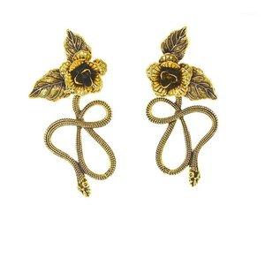 بالغت بسيطة التنين ثعبان شكل معدني الذهب زهرة الأقراط المعدنية غير النظامية أقراط إسقاط هندسي للنساء 1