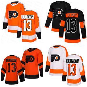 Venta caliente Filadelfia Flyers 13 Lil Peep Jersey Merch Rap Rip Naranja Negro Blanco Moda Star Hombres Mujeres Jóvenes Hockey Jerseys cosidos