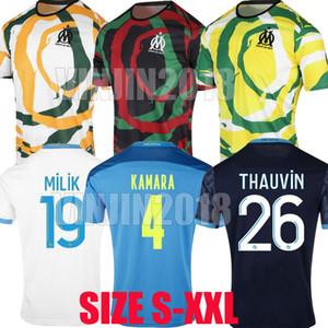 20 21 Olympique de Marseille Soccer Technys Milik Om Africa 2020 2021 Maillot de Fepe Payet Thauvin Бенедетто Мужчины Дети Четвертая футбольная футболка