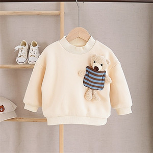 Hot Sale 2020 Winter New Baby Doll Bear Children Plus Velvet Sweatshirt Boys and Girls O-neck Pullover Cotton Top Baby Clothes Z1119