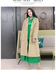Qiu dong season New England wind grid woolen cloth coat female cloth coat
