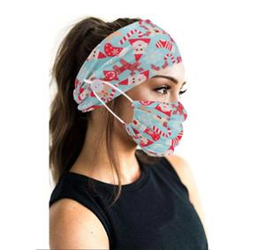2020 European ve Amerikan Patlayıcı Düğme Noel Baskı kadın Moda Kafa Bandı Maskesi Fitness Yoga Spor Başörtüsü