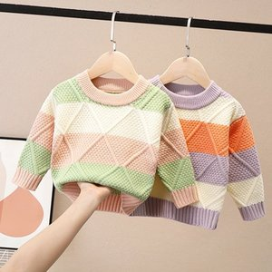 2020 Autumn Winter Children Kids Long Sleeve O Neck Rhombus Color Block Knitwear Sweater Baby Boys Knitted Pullover Jumpers