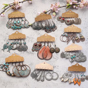 Vintage 2020 Metal Dangle Drop Earrings Sets Bundles for Women Sundry Mixed Ethnic Boho Hanging Earring Set Jewelry Accessories