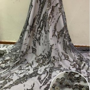 Grey Burgundy African Lace Fabric 2020 High Quality French Bridal Lace Nigerian Tulle Fabrics with Sequins For Wedding