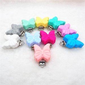 Chenkai 10 adet BPA Ücretsiz Silikon Kelebek Bebek Emzik Kukla Diş Kaşıyıcı Zincir Tutucu Klipler DIY Hemşirelik Hemşirelik Oyuncak Aksesuarları