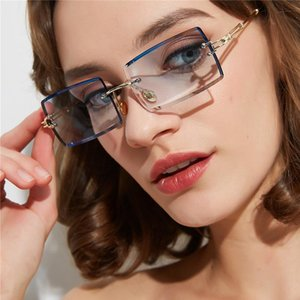 Erilles Retro Sonnenbrille Frauen Marke Designer Mode Randlose Gradient Sonnenbrille Töntes Vintage Oculos Lunette de Soleil Femme